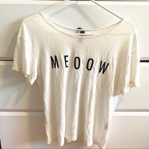 "H&M White ""Meow"" Cat Minimal Graphic T-Shirt"